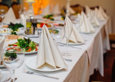 festive wedding table for a banquet in a restaurant