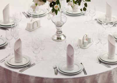 Beautiful flowers on table in wedding day. Luxury holiday background.